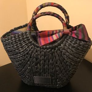 Ted Baker Straw Woven Basket Bag with Satin Bow